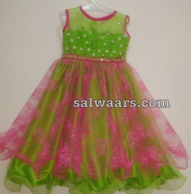 Dual Shade Frock with Floral Work