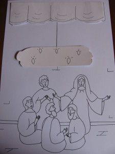 1) Découper le rideau, les flammes et le support arrière des flammes. Plier suivant les pointillés. 2) Découper au cutter la fente de la planche principale (au dessus de la tête des Apôtres) 3) ...