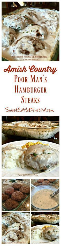 """AMISH COUNTRY POOR MAN'S HAMBURGER STEAKS - An old fashioned hamburger steak recipe. The """"steak"""" patties are made with cracker crumbs, milk and seasonings, baked in a delicious mushroom gravy. Down home comfort food the whole family will love, including the kids. Simple to make, so good. 