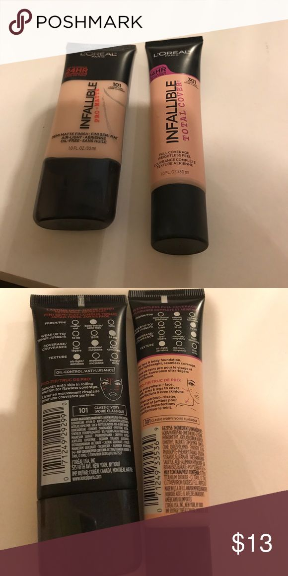 L'Oréal foundations in classic ivory L'Oréal infallible total cover(used twice) and infallible pro matte(used once). Both in the shade classic ivory(lightest shade). No trades. L'Oreal Makeup Foundation