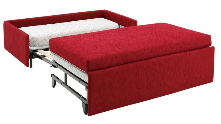 Ottoman + sofa bed = ottobed. Not terribly stylish but a practical way of having a spare bed in a small home.