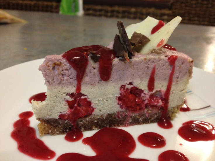 my Raw Raspberry Cheesecake with Berry Coulis