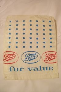 """Vintage 1970s Boots paper bag....not so much """"when I was a kid"""" but my first job was at Boots in the 70's"""