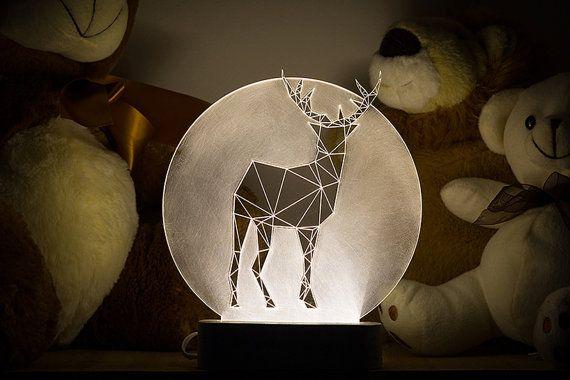 Full Moon deer lamp / Christmas decoration lamp / LED stag nightlight / Concrete fawn lamp / animal decorative lamp / woodland themed lamp