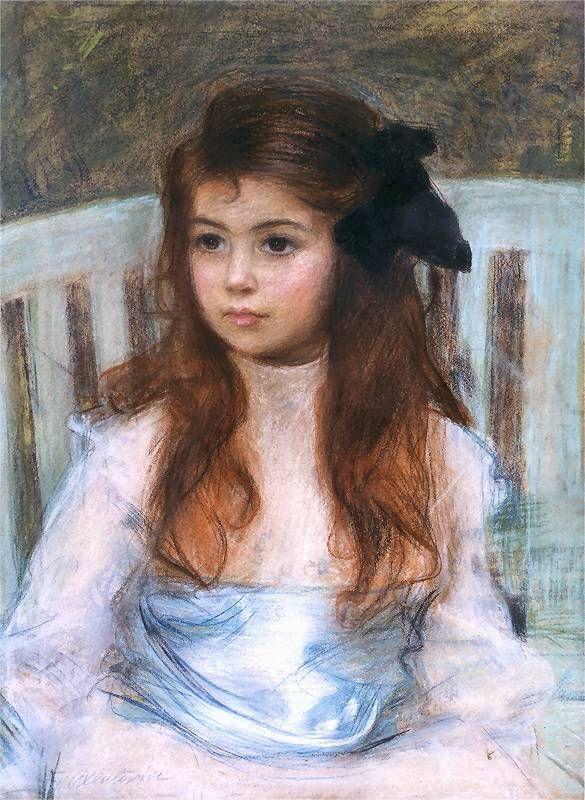 Teodor Axentowicz. Portret córki artysty, Jadzi, z niebieską szarfą