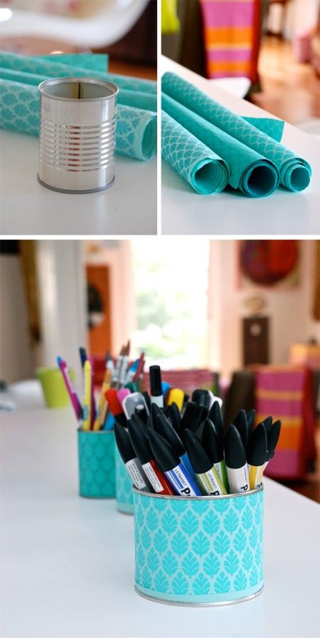 any size can and wrapping paper - perfect to hold the kids supplies...easy enough to find an empty can and some cute paper