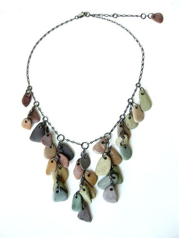 Rainbow statement necklace Beach stone jewelry  by AuthenticStone, $200.00