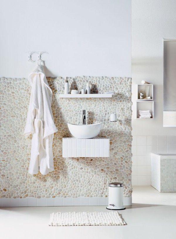 Stenen muur in de badkamer - THESTYLEBOX