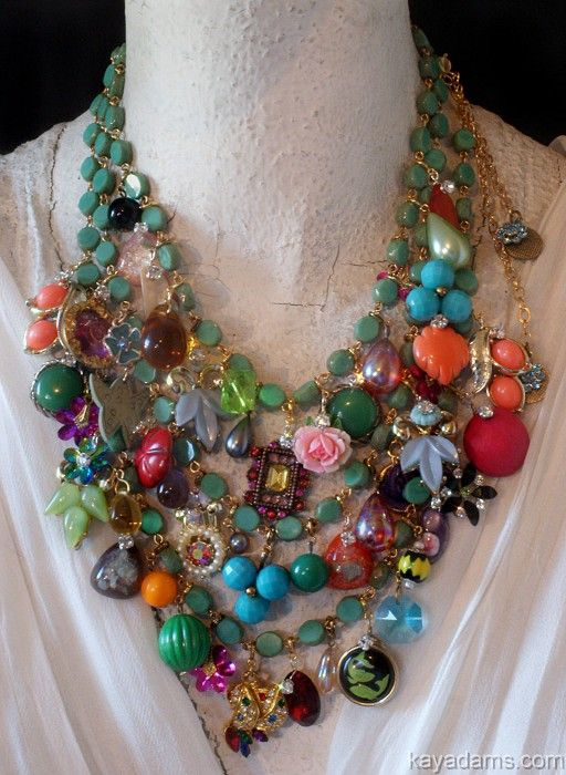 """Abundant & Artful  ~ this Bohemian assemblage of vintage costume jewelry """"bits"""" makes these old pieces young again!  - by artisan Kay Adams"""