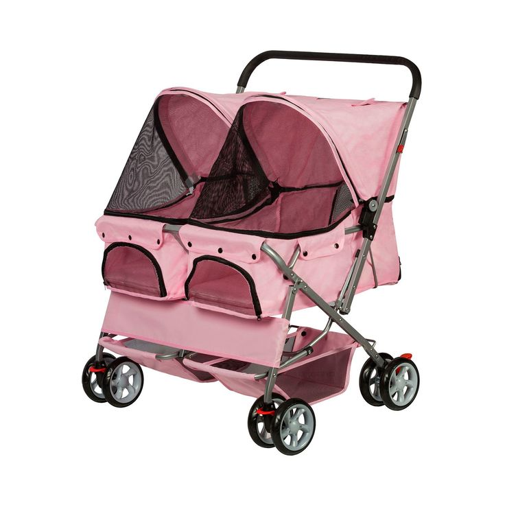 Paws & Pals Twin Carriage Pet Stroller - Pink
