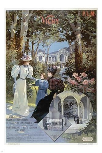 VICHY france VINTAGE tourism poster OLD FASHIONED LADIES refined 24X36 RARE