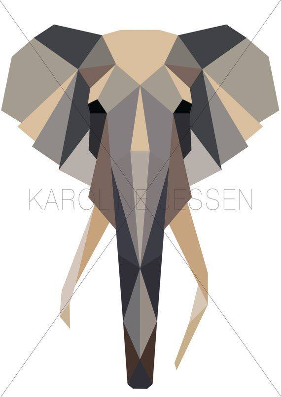 Geometric Elephant Print by KarolineJessen on Etsy