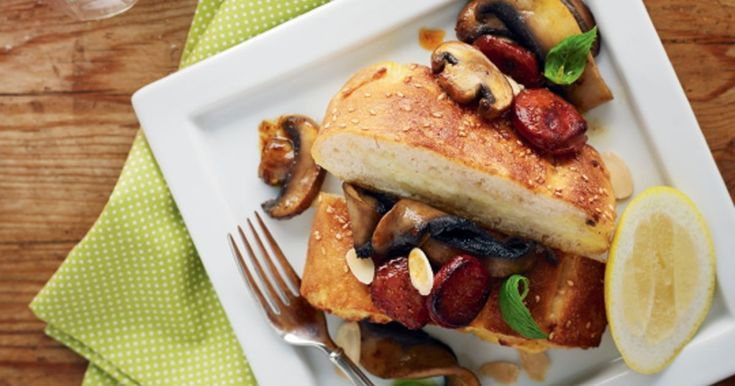 Inspired by the classic brunch ingredients of bread, eggs, sausages and mushrooms, this recipe turns them into a quick and easy supper.