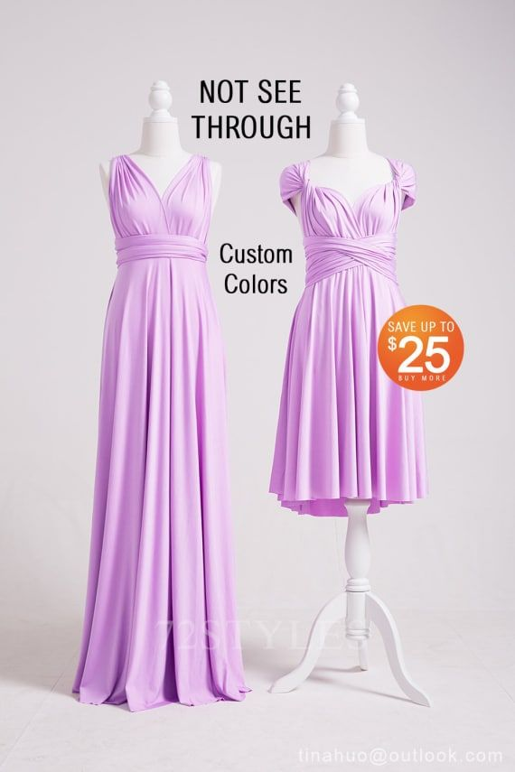 36dd9f2ac467 Convertible Bridesmaid Dress Lavender, Convertible Wrap Dress, Convertible  Maxi Dress, Convertible Dress SHORT LONG PLUS Size Infinity Dress
