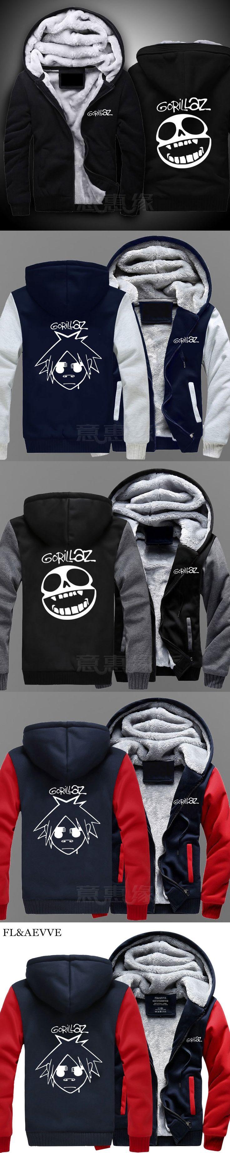 FL&AEVVE Winter Jackets And Coats Gorillaz Band Cotton Hoodie casual Hooded Thick Zipper Men Sweatshirt Autumn Long Sleeve