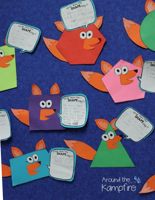 What does the SHAPE say? After dancing to What Does the Fox Say? we made these fox shape crafts to integrate using quotation marks correctly while learning about shapes!