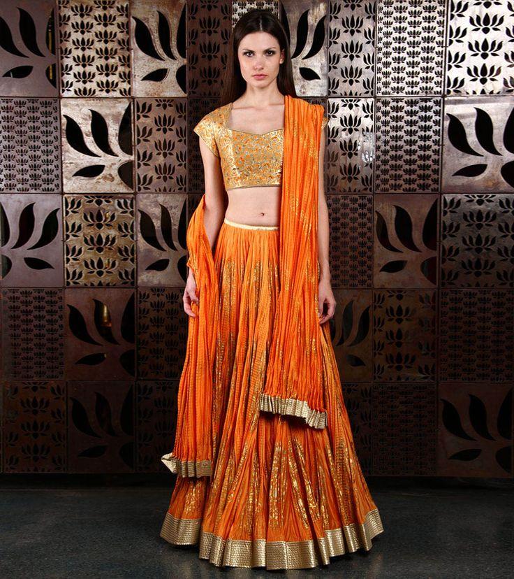 Orange & Gold #Chanderi #Lehenga #Set by #Rohit #Bal at #Indianroots