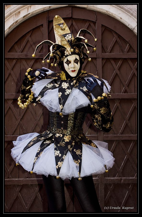 A court jester at Carnival of Venice (2012) wearing black gold and white ~ kuprat | Flickr - Photo Sharing!