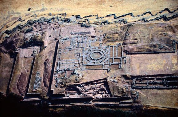 Aerial view of Sacsayhuaman ,Peru ~ layer upon layer dating back thousands of years ~ first layer possibly 10,000 years