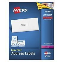 Avery® Shipping Labels with TrueBlock Technology, 1 x 2 5/8, White, 7500ct.