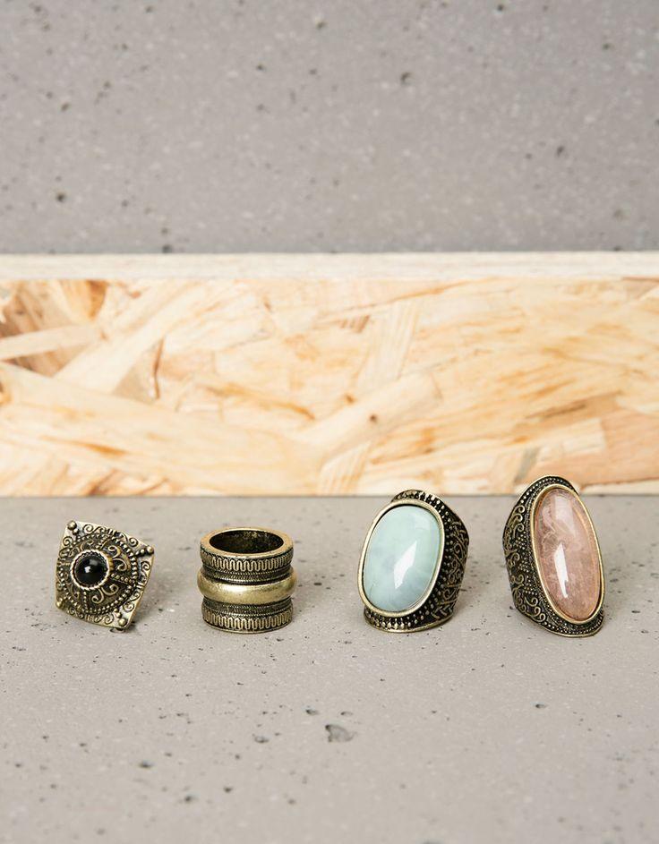 Bershka Italy - Set 4 anelli con pietre grandi