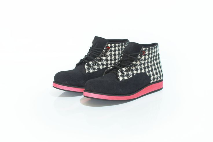 Red Clair  #boot #shoes #fashion #tosca #pattern #cute #handmade #angkleboot #blackandwhite #colorful #houndstooth #plaid