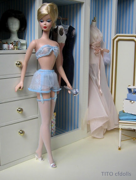 French Maid in Porcelain Gay Parisienne lingerie