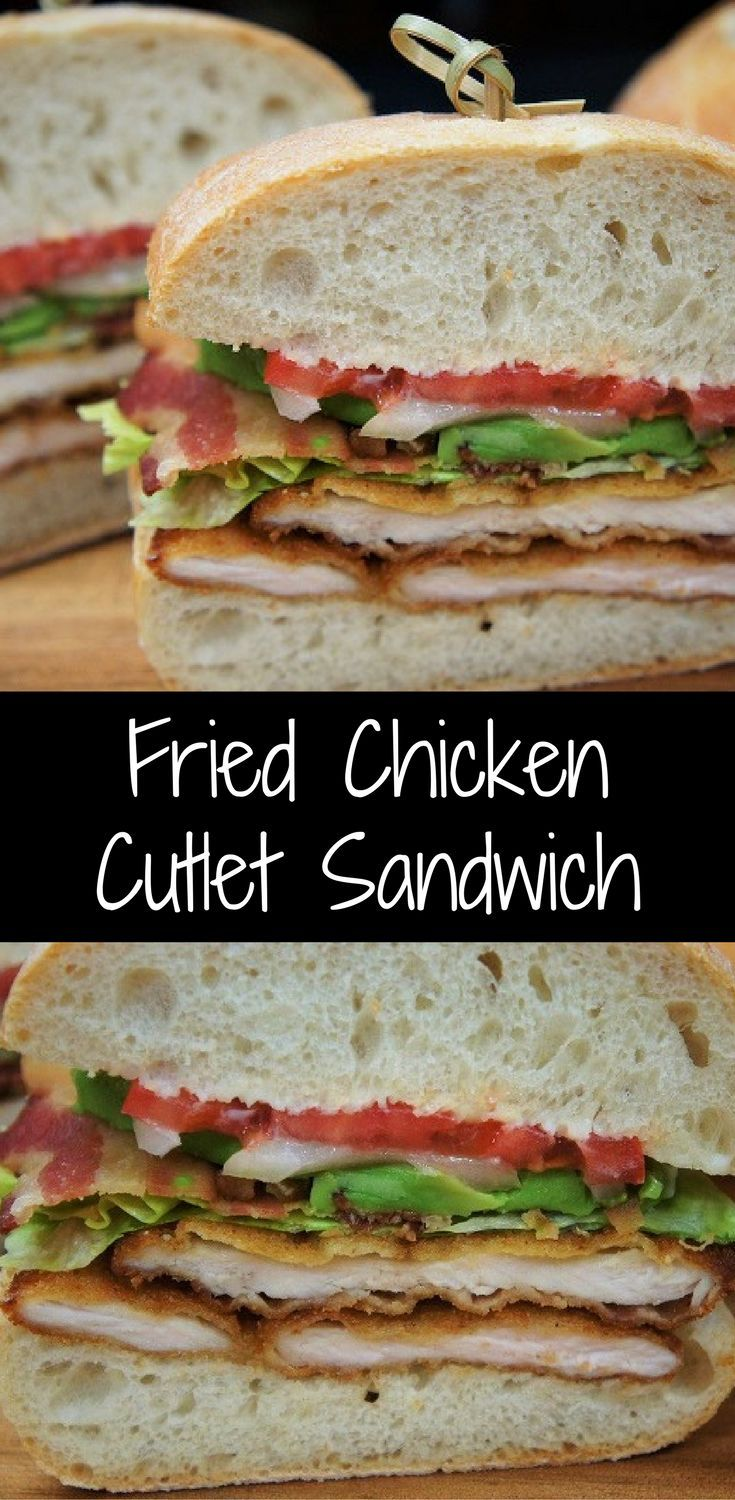 These fried chicken cutlet sandwiches are so good you'll crave them again and again. They're great sandwiches to make on a weekend night and enjoy with a cocktail (or two). Perfectly seasoned chicken cutlets are breaded and fried until golden and crispy. Then they're layered on ciabatta bread and topped with crispy bacon, lettuce, tomato, onions and avocado slices. Oh, so good!