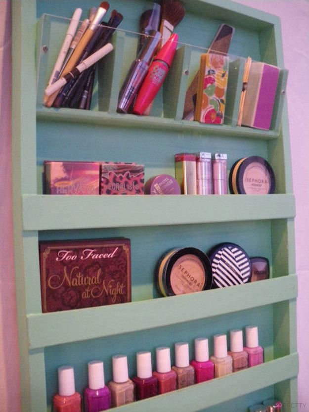 Wooden Makeup Organizer | Organize Your Makeup With These 17 Cool DIY Organizer. From Repurposed Materials That Will Save You A Lot Of Space And Money! by Makeup Tutorials at http://makeuptutorials.com/13-extremely-cool-diy-makeup-organizers/