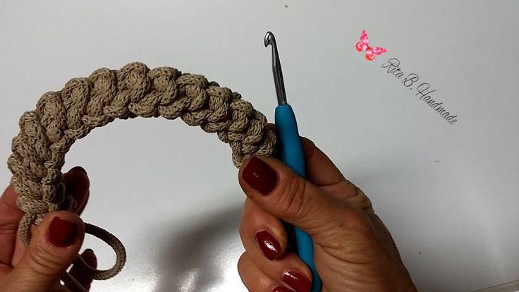 Manici per borsa spighetta rumena tripla o 3D- Crochet