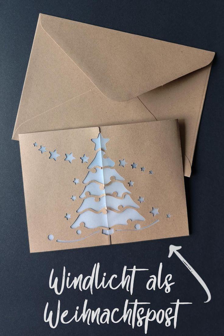 Windlicht mit Sternen & Weihnachtsbaum [Bastelvorlage & Plotterfreebie