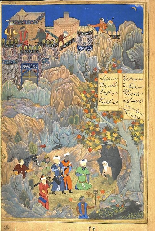 Iskandar, in the likeness of Husayn Bayqara, visiting the wise man in a cave. Ascribed to Bihzad underneath, but to Qasim ʻAli in the text panel.