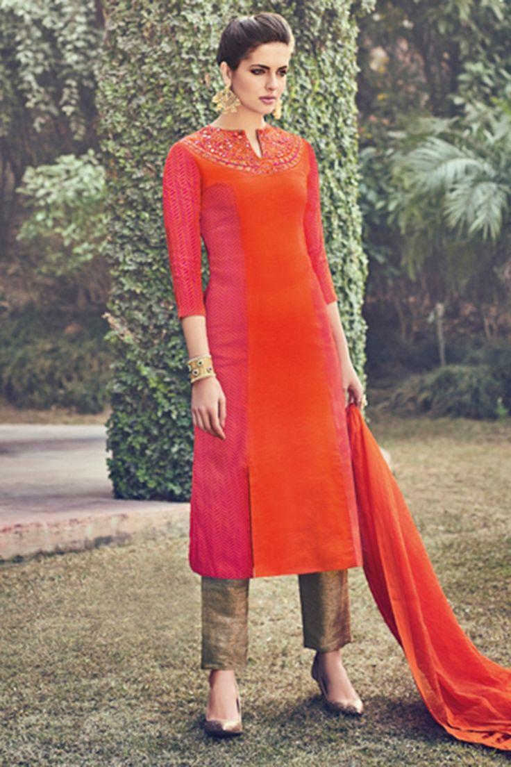 #Orange & fuchsia #pink pure raw #silk embroidered fashionable #kameez with cigarette #pant -SL5466
