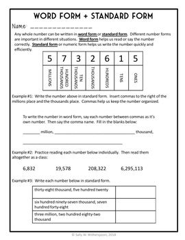 Word Form Standard 4th Grade 9 Page Lesson Packet Quiz 4 Nbt 2 3rd Clroom Common Core Math