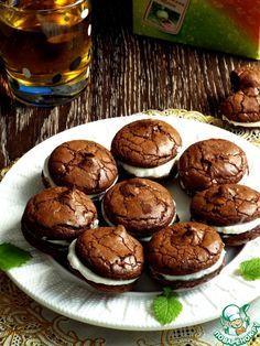"""Печенье """"Брауни"""" с творожной прослойкой - кулинарный рецепт"""