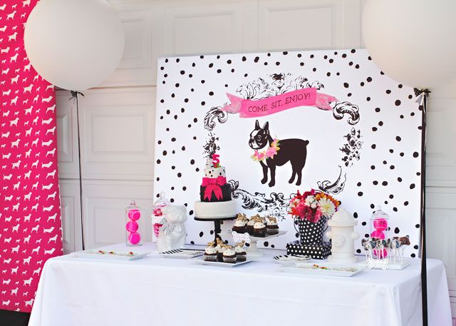 Puppy Birthday Party Dessert Table - love all the pink accents! #kidsparty: Boston Terriers Theme Parties, Puppy Birthday Parties, Projects Nurseries, Birthday Parties Desserts, Puppies Parties, Puppies Birthday Parties, Parties Theme, Puppies Theme, Parties Reveal