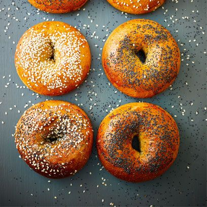 Lorraine Pascale's wholemeal flour bagels are a nutty, dense breakfast-to-go. Click on the picture or go to www.redonline.co.uk for the recipe.