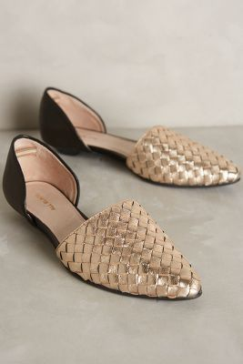 All Black Woven D'Orsays Gold #Flats #anthrofave