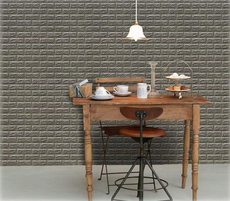 Luxury 3D Brick Wall Textured Foam Wallpaper, 71x78cm Large 5 Sheets Khaki Gray #INDESIGN