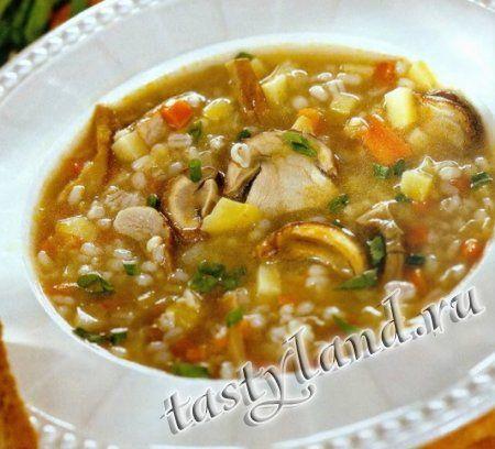 Грибной суп с перловкой 50 г. грибов, 1 большая луковица, 1 средняя морковь, 2 средние картофелины, 0,5 стакана перловки, 2 ст. л. сливочного масла, 1 ст. л. растительного масла, 2 пера зеленого лука, лавровый лист, соль, перец.