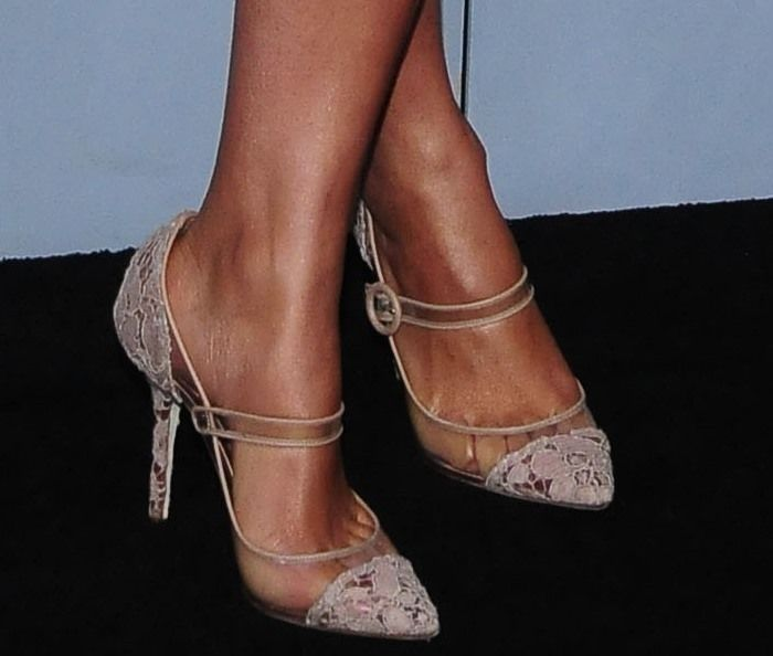 Camila Alves wearing nude lace Mary Jane pumps