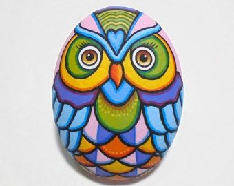 Rock Painted Colorful Owl Is Painted With High by RockArtAttack