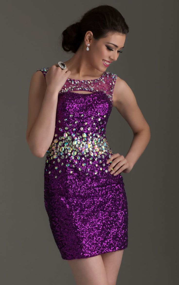 Charming-Purple-Sequins-Crystals-Cocktail-