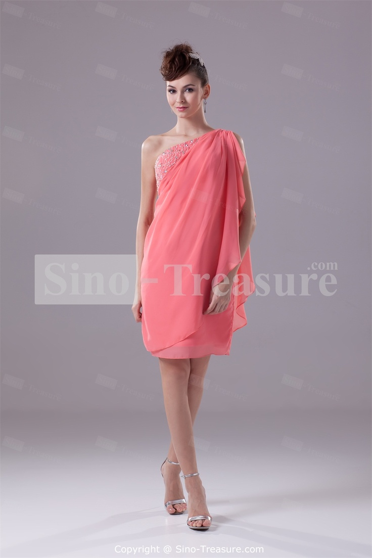 10 best images about bridesmaid dress final picks on pinterest watermelon chiffon one shoulder sheath column knee length bridesmaid dress ombrellifo Images