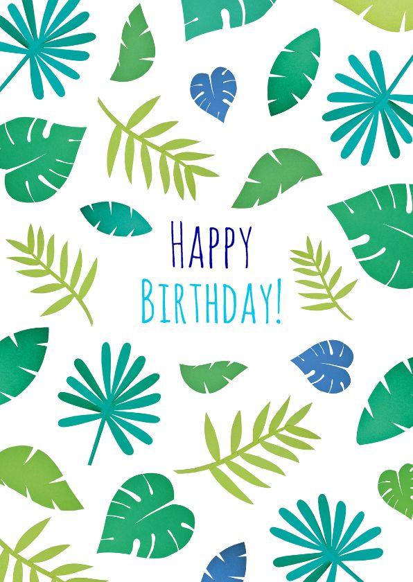 Hippe verjaardagskaart met junble bladeren, verkrijgbaar bij #kaartje2go voor € 1,89
