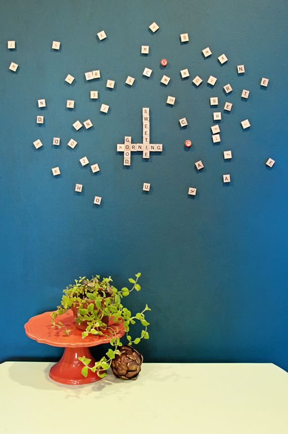 Magnetic scrabble wall in the kitchen. #Targetstyle