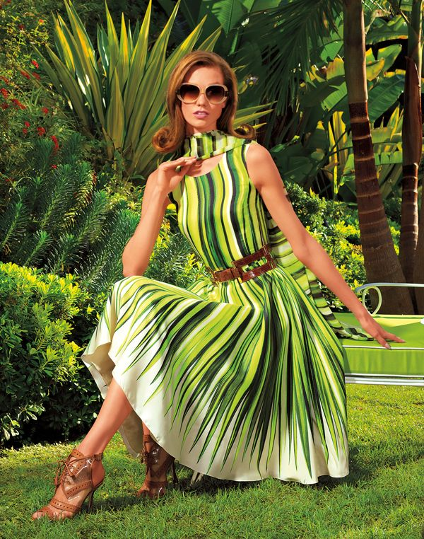 wowsa! Oscar de la Renta chartreuse silk palm print dress, Spring 2012. #green #stripes