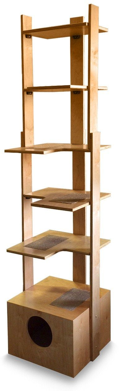 Made in the USA from 3/4 premium select cabinet grade birch by craftsman with 25 years experience.  Handcrafted - Sturdy - Safe - Made to Order piece of furniture - Ships from USA - Replaceable Sisal Scratching/Napping Pads for each Level. Beddy Box on the bottom. For any questions: info.purrfectrends@cox.net.  This tower provides great exercise for your cat. It supports 25 lbs. per level, is furniture finished and can accessorize any decor. It is easy to keep clean and is easily as...