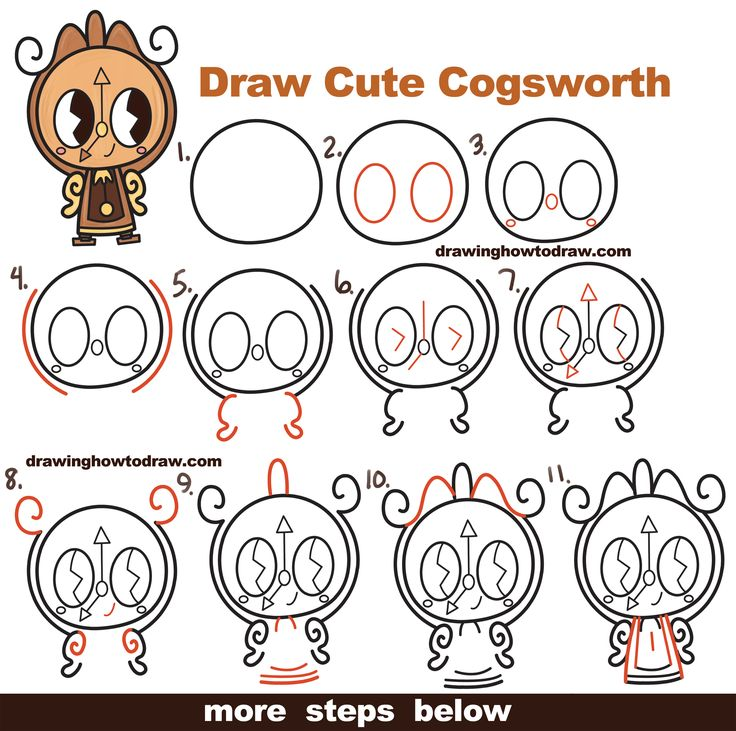 How to Draw Cute Kawaii Chibi Cogsworth the Clock from Beauty and the Beast Easy Step by Step Drawing Tutorial for Kids