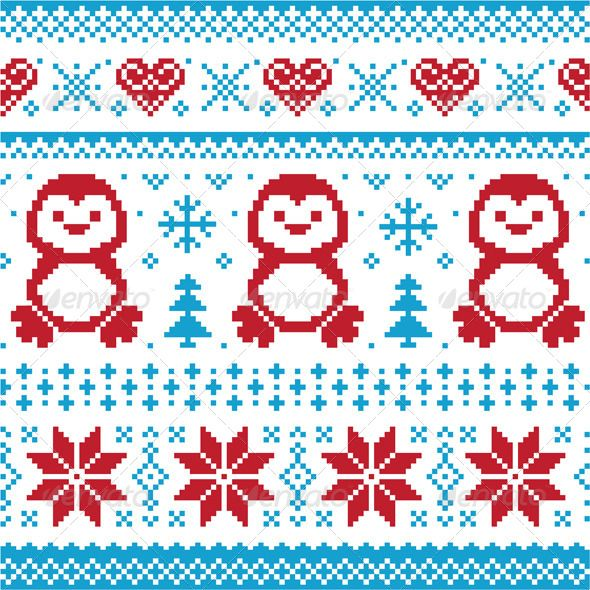 Winter Knitted Pattern with Penguins